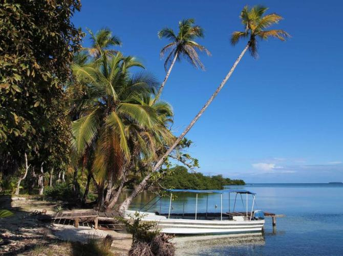 caribbean_peaceful_beach_with_coconut_trees_leaning_over_the_sea_and_a_boat_at_dock